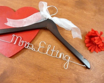 Bridal Name Hanger - Last Name Hanger - Bride Hangers by OriginalBridalHanger - Bridal Coat Hanger - Cute Name Hanger - Original Hanger