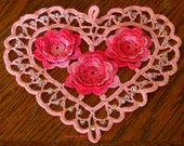 Irish Crochet Heart with 3D Roses - Handmade Made-To-Order - Your Choice of Color - Pink, Red, Yellow, Blue, Purple - Heart Doily or Pendant