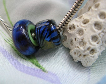 BHB Blue Zebra Stripes and the Jungle big hole bead for bracelets and necklaces