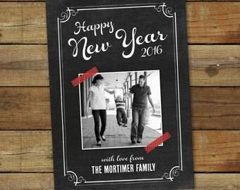 Chalkboard Art New Year card, photo holiday card, custom photo card for new years 2017, printable holiday card, custom photo card