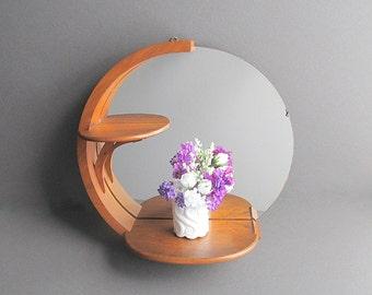 Vintage Mirror With Shelves, Round Mirror, Hanging Wall Mirror, Hanging Shelf, Wood Shelf With Mirror