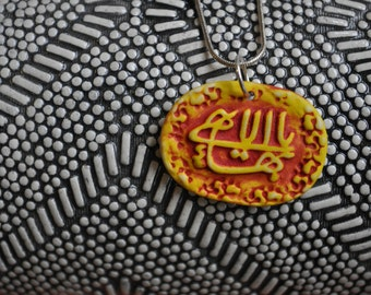 The Greatest Name--- porcelain pendant necklace-- saffron yellow and paprika red