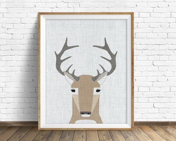 White Tail Deer- art print, large art, mid century modern wall art, art for kids, nursery decor, nursery wall art, woodland nursery, nursery