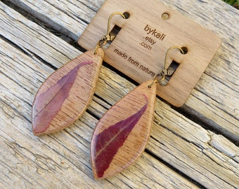front and back autumn sumac leaf drop earrings