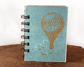 Sky Blue Hot Air Balloon - One-of-a-Kind Screen-Printed Pocket Journal