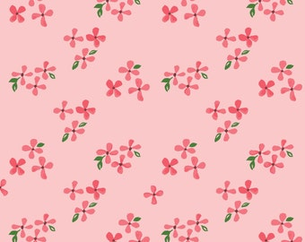 Blossoms - Bloom - Monaluna Fabrics - Organic Quilting Cotton - Pink Red Green - Flowers Garden - Nursery