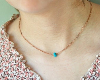 Genuine turquoise choker necklace / short necklace /turquoise necklace /minimalist necklace. Tiedupmemories