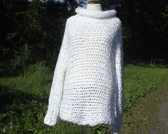 Slouchy pullover sweater long sleeves cowl neck super chunky knit in pale pastel variegated white for large women