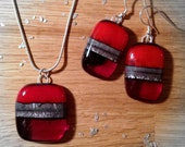 Sterling Silver Fused Glass Necklace and Earrings Matching Set in Ruby Red and Silver