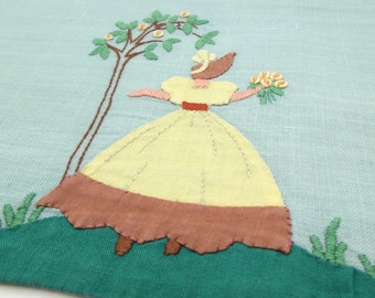 Vintage Guest Towel - Tea Towel - Southern Belle - Lady - Linen - Applique - Embroidered - Guest Linen - Hand Towel