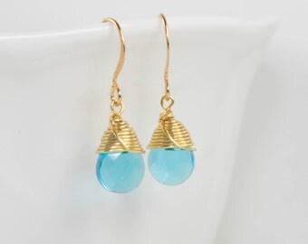 Bright Blue Gold Earrings, Gold Wire Wrapped Earrings, Dainty Blue Gold Earrings, Gold Blue Earrings, Gold Filled Earrings