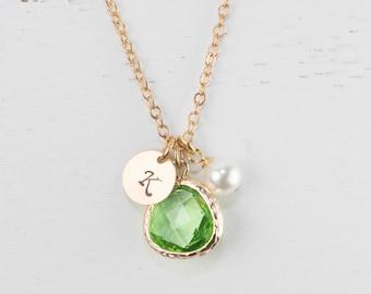 Personalized August Birthstone Peridot Gold Necklace, August Birthday Jewelry, Personalized Gold Necklace, Bridesmaid Jewelry #877