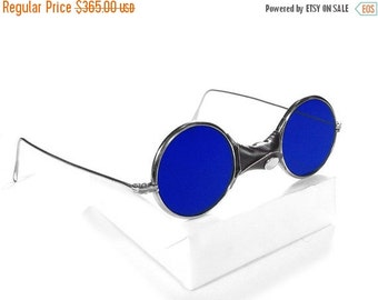 Steampunk Goggles Vintage American Optical Steam Punk Glasses COBALT BLUE Tinted Glass, Leather Details, MINT - Steampunk by edmdesigns
