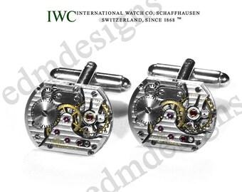 Mens Cufflinks IWC International Watch Co. RARE Watch Cuff Links LUXURY Pinstripe Wedding Groom Mens Holiday Gift - Jewelry by edmdesigns