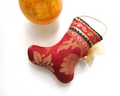 "Little 4"" Stocking Ornament, Red-Coral-Gold, Gold Bow and Bell, Red Stocking, Coral Stocking"