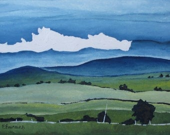"""Art Original Landscape Oil Painting White Cloud Impressionist Pastural Eastern Townships Appalachian Quebec Canada By Fournier """" Passing By"""