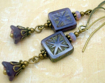 Purple Flower Dangle Earrings in the Bohemian Jewelry Style