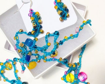 Turquoise Hand Crocheted and Beaded Necklace and Earring Set