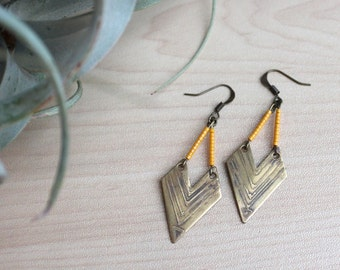 Etched Beaded Chevron Earrings