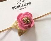 Felt Flower Headband // Rose Headband // Gold Leaves // Mini Flower Headband // Photo Prop // Mini Flower Crown // Skinny Elastic // Rose