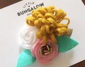 Felt Flower Hair Clip // Flower Headband // Gold Glitter // Mini Flower Headband // Photo Prop // Mini Flowers // Elastic // Rose