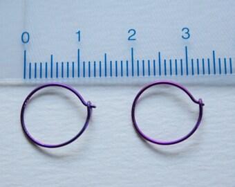 22 Gauge Purple Niobium Mini Hoops ONE PAIR