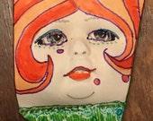 Handmade clay face  goddess  red hair woman doll head  jewelry craft supplies  cabochon  mosaics dolls jewelry craft  spirit