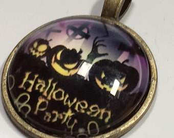 Halloween poe pendant ghouls pumpkin jack o lantern ghost  zombie  skeleton    Bronze dish with glass dome loop at top (AAA6)