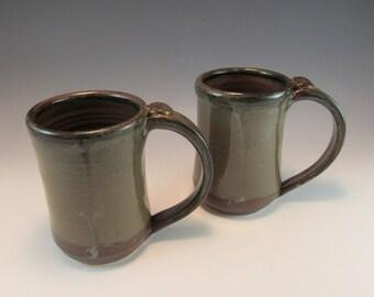Large Pottery Brown Coffee Mug/Tea Mug/Beer Stein-Set of 2
