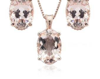 Morganite Jewelry Set - Oval Morganite and Diamond Side Halo Pendant with Matching Oval Morganite Earrings in 14k Rose Gold - LS4665