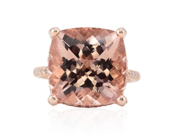 Morganite Engagement Ring - 13mm Square Cushion cut Morganite and Diamond Ring with Heart Filigree and Shank in 14k Rose Gold - LS4713