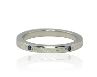 September Birthstone Ring with Bezel set Blue Sapphires and Hand Engraved Vines in 14k White Gold - LS4444