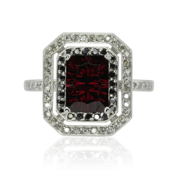 Engagement Ring Fancy Cut Rectangle Garnet Engagement Ring