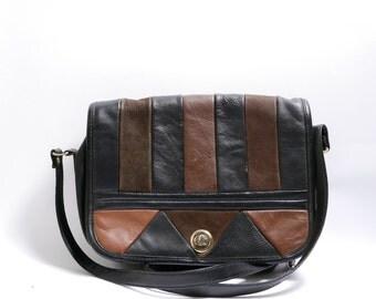 Vintage Black and Brown Leather Crossbody Bag // Long Strap Purse//  80s 90s  Boho Shoulder bag