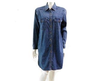 Vintage L.L Bean Denim Shirt Dress// Classic Denim Dress  // Size 8 // 124