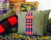 SAMPLE///Vintage Military Canvas and Primitive Textile Pillow