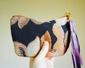 Textile and Leather Pouch//Reversible