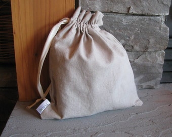 Set of 3 Medium Drawstring Fabric Gift Bags, Washable, Linen, Cotton, Natural, Oatmeal
