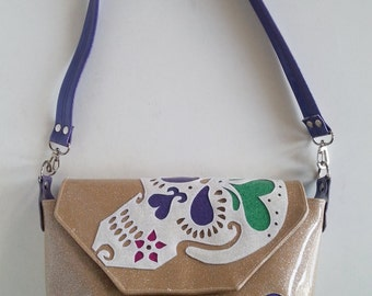 Champagne sugar skull handbag metalflake vinyl w white sugar skull and blueberry hearts