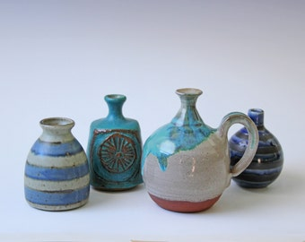 Set of 4 petite studio pottery vases blue hues - stripes and drip glaze - instant collection