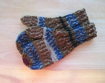 Child Medium Mittens Wool Free High Sierra Stripe