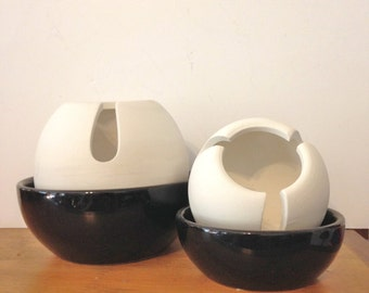 Mid Century Pottery Ashtray Set TWO Black and White Ball Ashtray