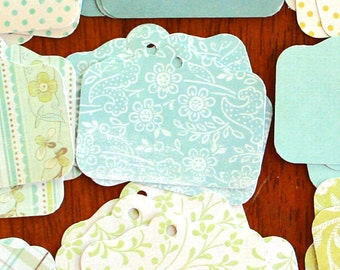 Set of 50 Tags, CALMING SEAS Patterned Paper Set, Personalized Tags, Gift Tags, Hang Tags, Favor Tags