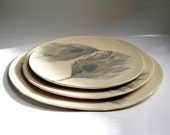 Set of three peacock feather plates- Serving plate - dining plates