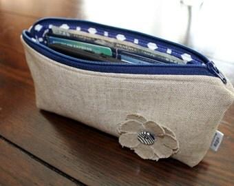 Zipper Pouch Clutch Wallet - Long Wallet - Cell Phone - Passport - Errand Runner - Evening Bag - Zip Fabric Wallet - Blue Oatmeal Tan Beige