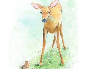 Woodland Fawn Print - Deer Fawn Art Print - Baby Deer Nursery Wall Art - Deer Watercolor Print