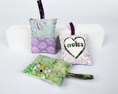 Lavender or Balsam Sachet, Hand Printed Modern Linocut, Patchwork Sachet, Quilted Ornament, Gift for Her, Under 20,  Herbal Scented