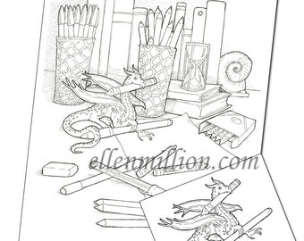 dragons hoard funny digi stamp digital coloring page for adults for scrapbooking or cards or