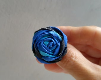 Rosette Ring, Textile Satin Blue Statement Ring, Shades of Blue Ring, Adjustable Ring, Summer Jewelry, Bridesmaid Jewelry, Boho Satin Ring