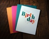 Letterpress Printed Dancing Letters - Happy Birthday To You Card - single
